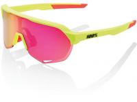 oculos 100% s2 amarelo neon lentes purple